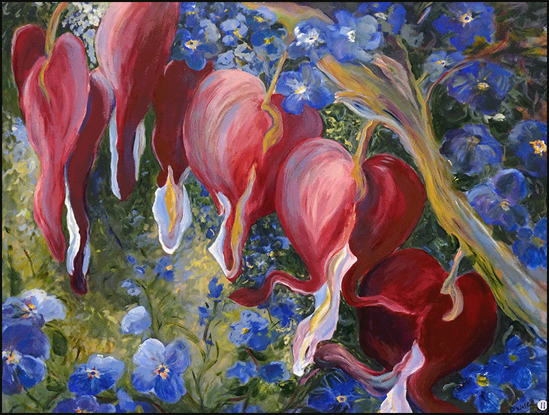 """""""Bleeding Hearts and Forget-Me-Nots"""" by Donna Wolfe 2019 Best of Show in the Annual SAA Members Exhibit"""
